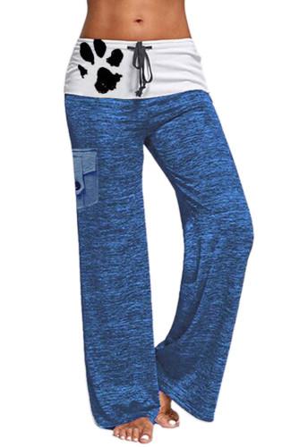 Blue Drawstring Pockets Stretch Wide Leg Yoga Pant LC77389-5