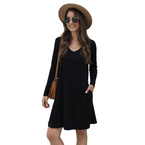 Black Cotton Blend Pocketed Casual Dress TQK310362-2