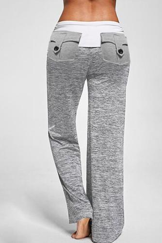 Gray Drawstring Pockets Stretch Wide Leg Yoga Pant LC77389-11