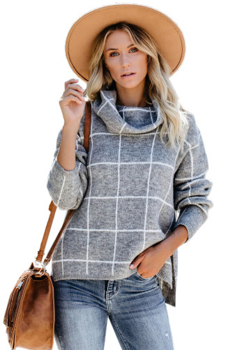 Gray Grid Pattern Turtleneck Sweater LC270176-11