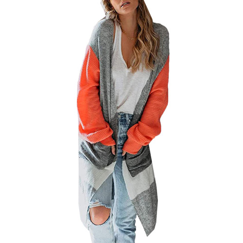 Orange Colorblock Lantern Sleeve Cardigan TQK271128-14