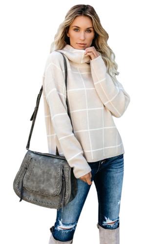 Khaki Grid Pattern Turtleneck Sweater LC270176-16