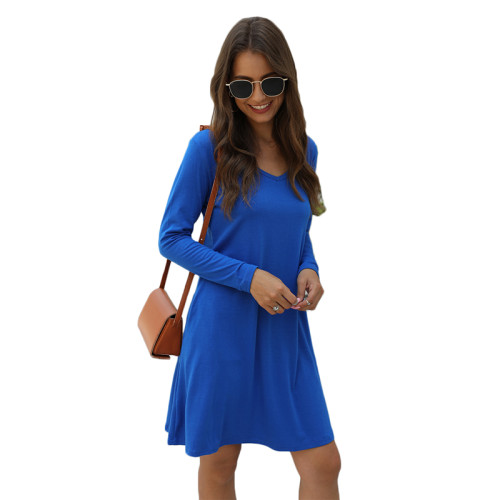 Blue Cotton Blend Pocketed Casual Dress TQK310362-5