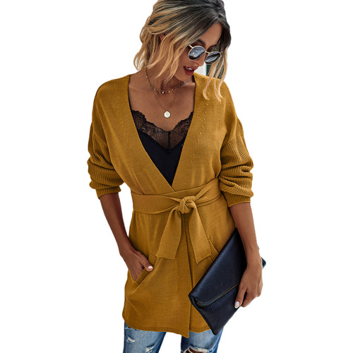 Yellow French Retro Lace-Up Knit Cardigan TQK271125-7