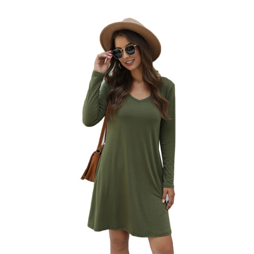 Army Green Cotton Blend Pocketed Casual Dress TQK310362-27