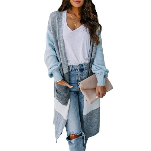 Light Blue Colorblock Lantern Sleeve Cardigan TQK271128-30