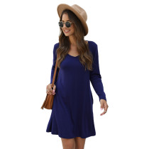 Navy Blue Cotton Blend Pocketed Casual Dress TQK310362-34