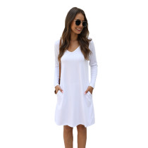White Cotton Blend Pocketed Casual Dress TQK310362-1