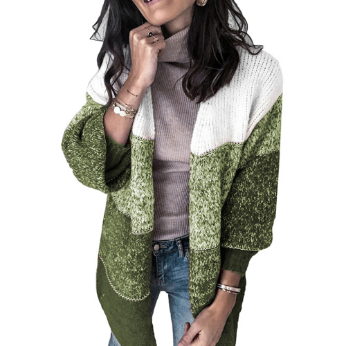Green Colorblock Casual Style Cardigan TQK271127-9