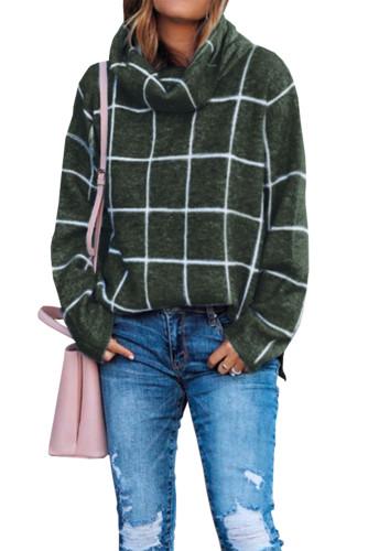 Green Grid Pattern Turtleneck Sweater LC270176-9