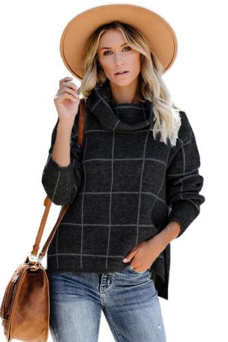 Black Grid Pattern Turtleneck Sweater LC270176-2