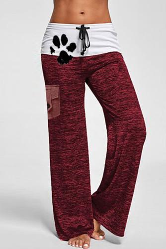 Red Drawstring Pockets Stretch Wide Leg Yoga Pants LC77389-3