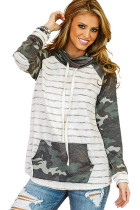 Green Cowl Neck Striped Camouflage Splice Sweatshirt LC2531137-9