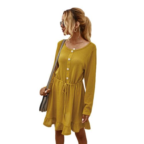 Yellow Button Blet Ruffled Hem Casual Dresse TQK310365-7