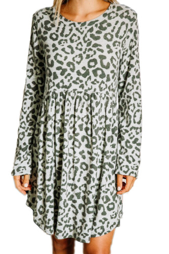 Gray Long Sleeve Leopard Print Mini Dress LC222131-11