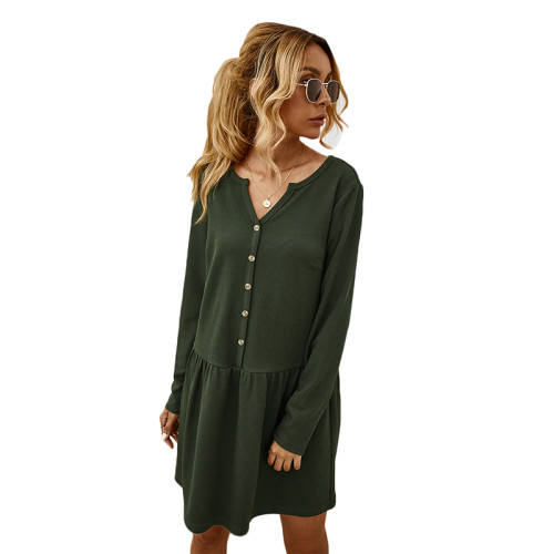 Army Green Button Long Sleeve Casual Dresse TQK310364-27