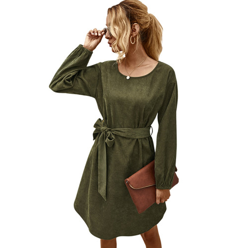 Army Green Corduroy Midi Dress With Belt TQK310366-27