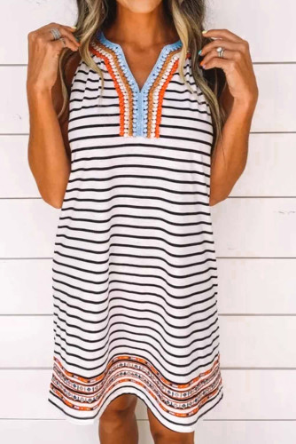 White V Neck Coloured Embroidery Lace Striped Dress LC221965-1