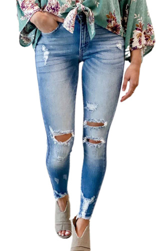 Faded Mid High Rise Jeans with Holes LC78267-4