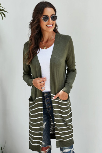Green Open Front Long Sleeve Striped Cardigan LC271007-9
