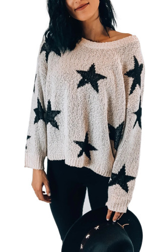 White Knit Star Sweater LC272049-1