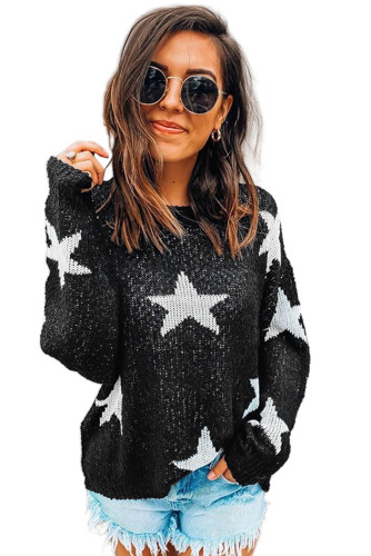 Black Knit Star Sweater LC272049-2