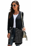 Black Open Front Long Sleeve Striped Cardigan LC271007-2