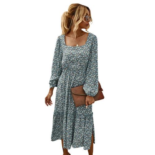 Light Blue Ruffled Hem Long Sleeve Floral Dress TQK310368-30