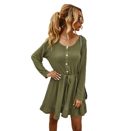 Army Green Button Blet Ruffled Hem Casual Dresse TQK310365-27