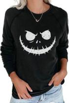 Black Crew Neck Pumpkin Print Halloween Sweatshirt LC2531705-2