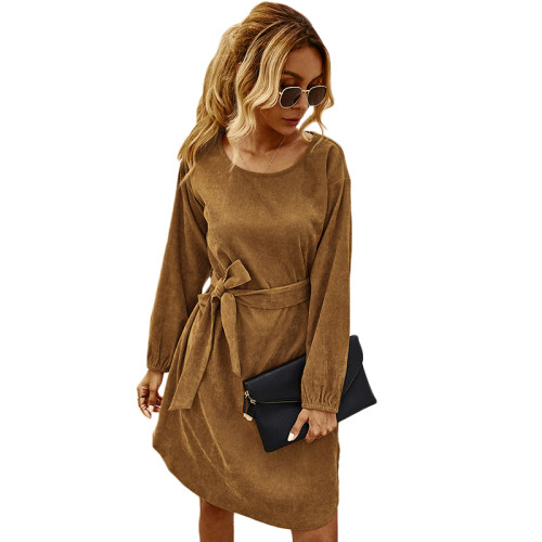 Brown Corduroy Midi Dress With Belt TQK310366-17