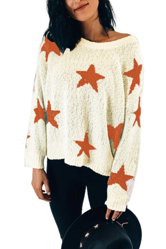 Beige Knit Star Sweater LC272049-15