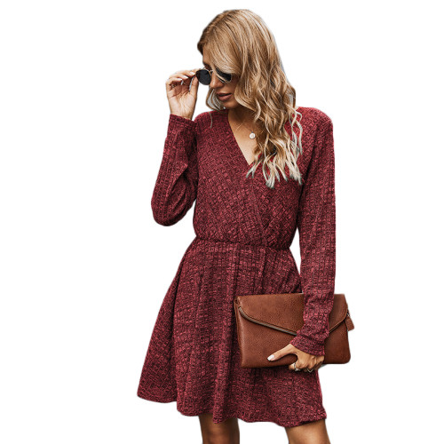 Wine Red V Neck Long Sleeve Casual Dress TQK310363-103