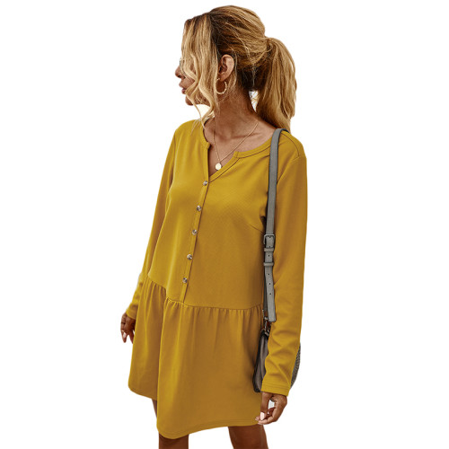 Yellow Button Long Sleeve Casual Dresse TQK310364-7