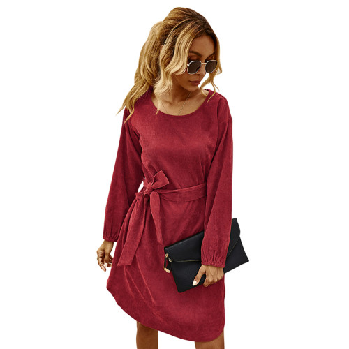 Red Corduroy Midi Dress With Belt TQK310366-3