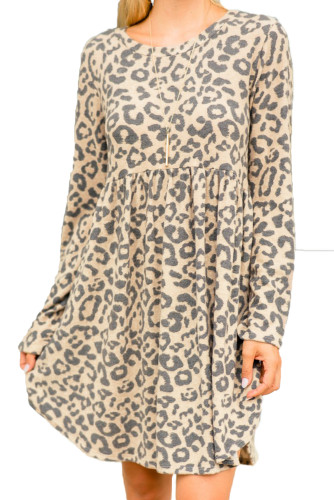 Long Sleeve Leopard Print Mini Dress LC222131-20