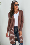 Brown Open Front Long Sleeve Striped Cardigan LC271007-17