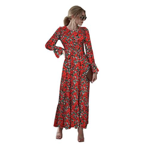 Red Floral Print Smocking Maxi Dress TQK310371-3