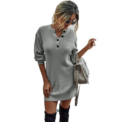 Gray Button Neck Knit Sweater Dress TQK310372-11