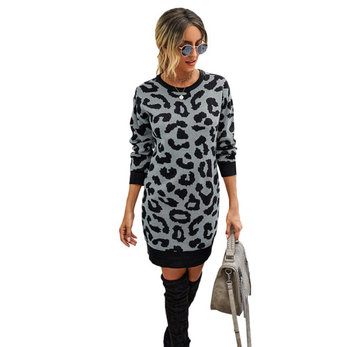 Gray Leopard Print Bodycon Sweater Dress TQK310374-11