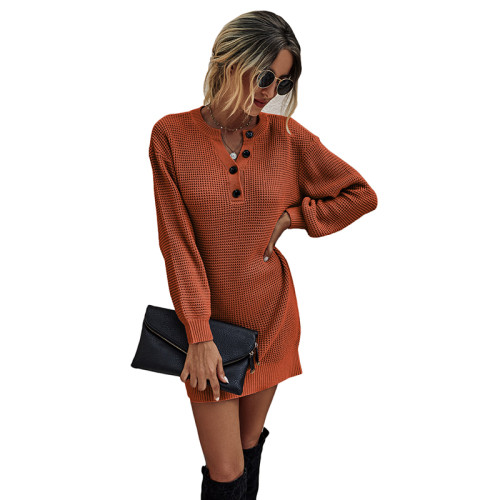 Rust Red Button Neck Knit Sweater Dress TQK310372-33