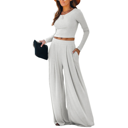White Loungewear Long Sleeve Top with Pant Set TQK710130-1