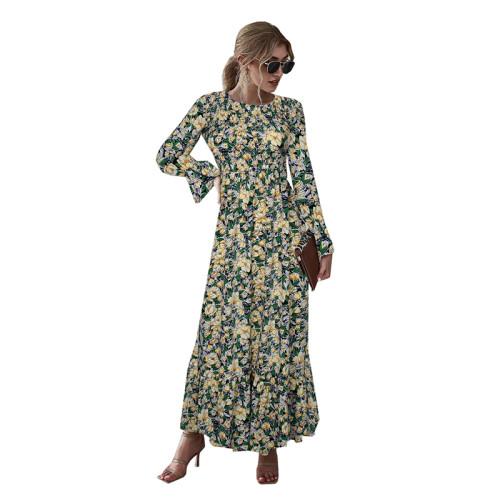 Light Yellow Floral Print Smocking Maxi Dress TQK310371-42