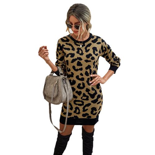 Khaki Leopard Print Bodycon Sweater Dress TQK310374-21
