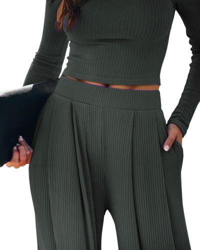 Dark Gray Loungewear Long Sleeve Top with Pant Set TQK710130-26