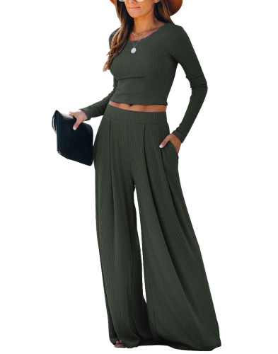 Dark Gray Loungewear Long Sleeve Top with Pant Set TQK710130-26