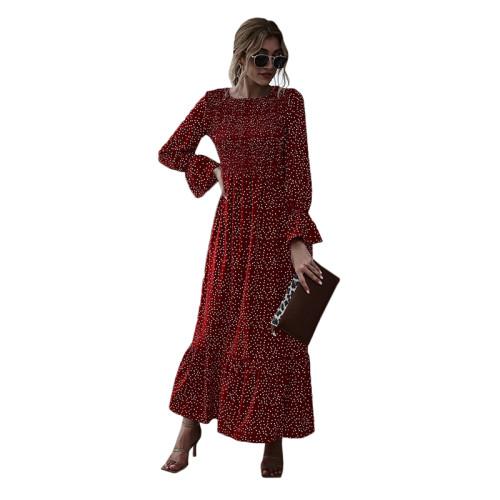 Wine Red Polka Dot Smocking Maxi Dress TQK310371-103