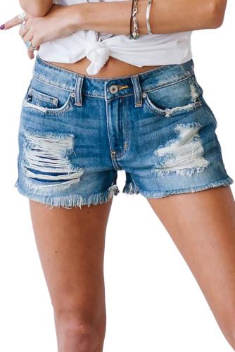 Blue Distressed Mid Rise Frayed Hem Denim Shorts LC78123-5