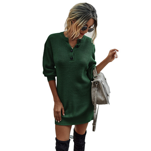 Dark Green Button Neck Knit Sweater Dress TQK310372-36