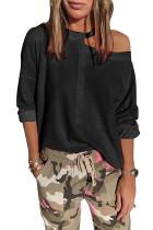 Black Cut Out Shoulder Sweatshirt LC253475-2